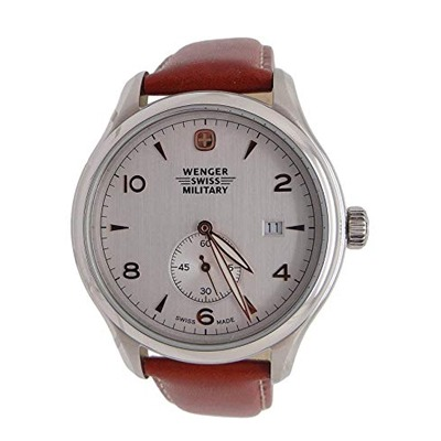 """Wenger Swiss Army Military """"Silver Dial"""" Watch 79301c"""